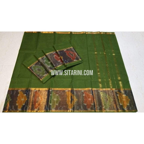 Uppada Cotton Saree-Mehandi Green-Sitarini-SITUCS114