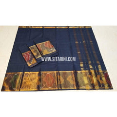 Uppada Cotton Saree-Navy Blue-Sitarini-SITUCS108