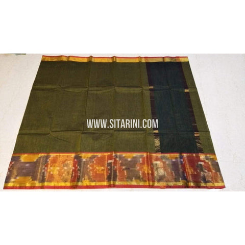 Uppada Cotton Saree-Olive Green-Sitarini-SITUCS132