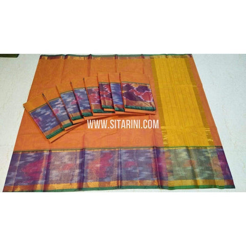 Uppada Cotton Saree-Orange-Sitarini-SITUCS133