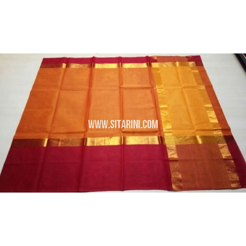 Uppada Cotton Saree-Orange-Sitarini-USRHUCS115