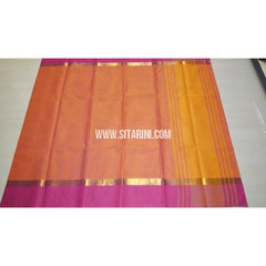 Uppada Cotton Saree-Orange-Sitarini-USRHUCS123