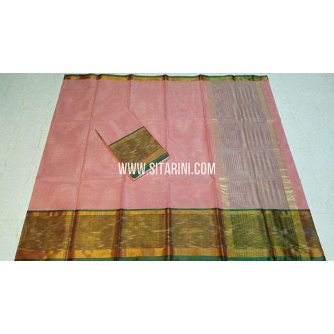 Uppada Cotton Saree-Peach-Sitarini-SITUCS145