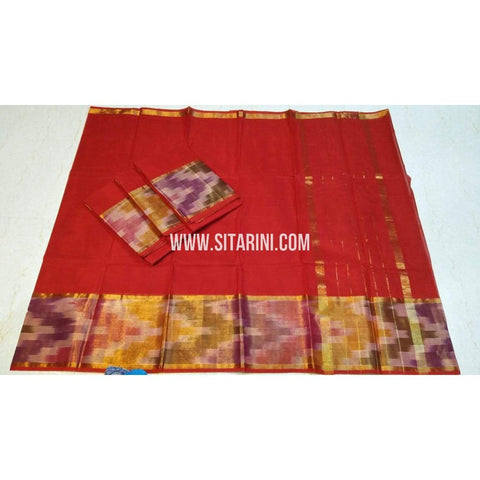Uppada Cotton Saree-Red-Sitarini-SITUCS110