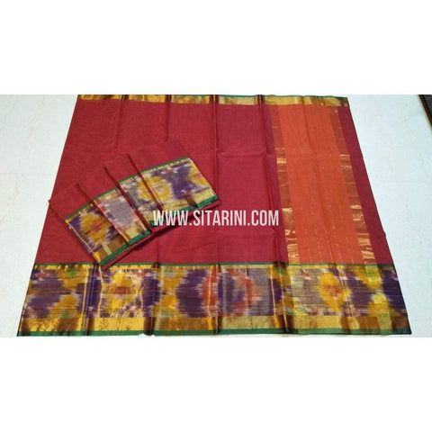 Uppada Cotton Saree-Red-Sitarini-SITUCS123