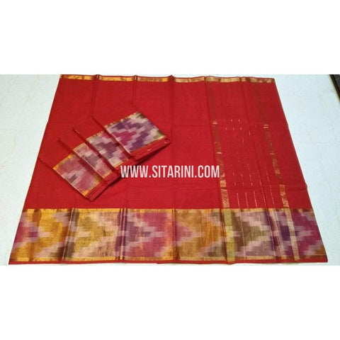 Uppada Cotton Saree-Red-Sitarini-SITUCS125