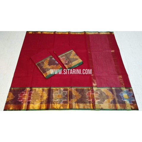 Uppada Cotton Saree-Red-Sitarini-SITUCS139