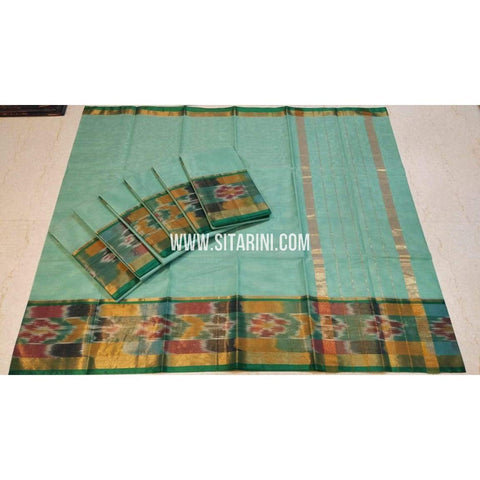 Uppada Cotton Saree-Sea Green-Sitarini-SITUCS115