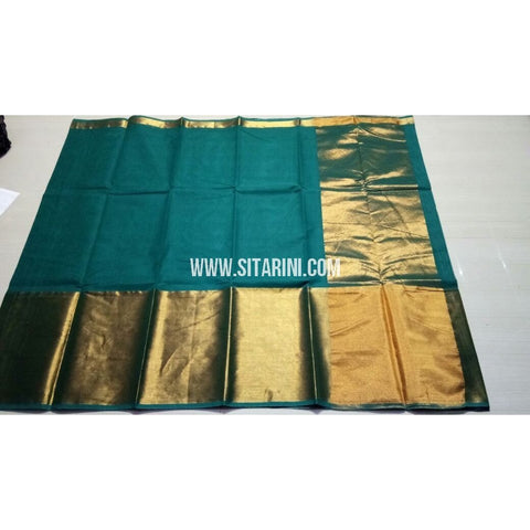Uppada Cotton Saree with Big Border-Bottle Green-Sitarini-USRHUCS178