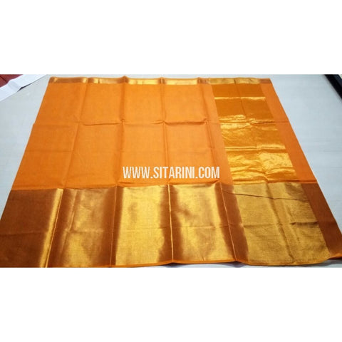Uppada Cotton Saree with Big Border-Dark Yellow-Sitarini-USRHUCS183