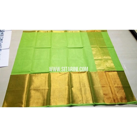 Uppada Cotton Saree with Big Border-Light Green-Sitarini-USRHUCS180