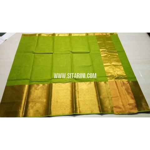 Uppada Cotton Saree with Big Border-Parrot Green-Sitarini-USRHUCS181