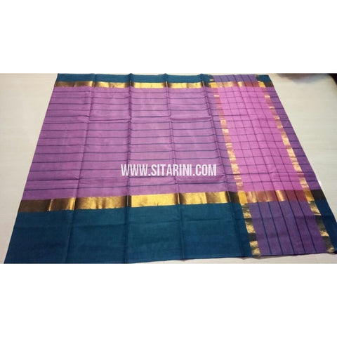 Uppada Cotton Saree with Big Border-Purple-Sitarini-USRHUCS187