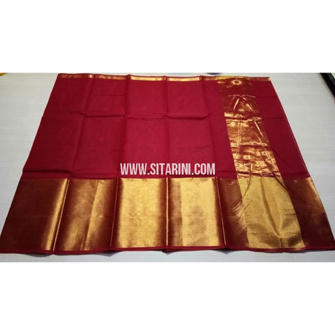 Uppada Cotton Saree with Big Border-Red-Sitarini-USRHUCS179