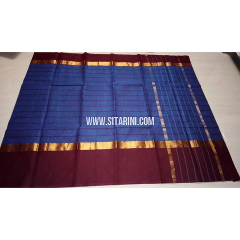 Uppada Cotton Saree with Big Border-Royal Blue-Sitarini-USRHUCS188
