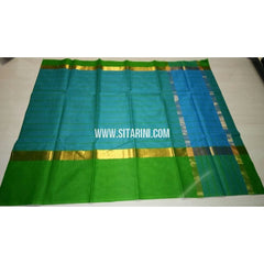 Uppada Cotton Saree with Big Border-Sky Blue-Sitarini-USRHUCS190