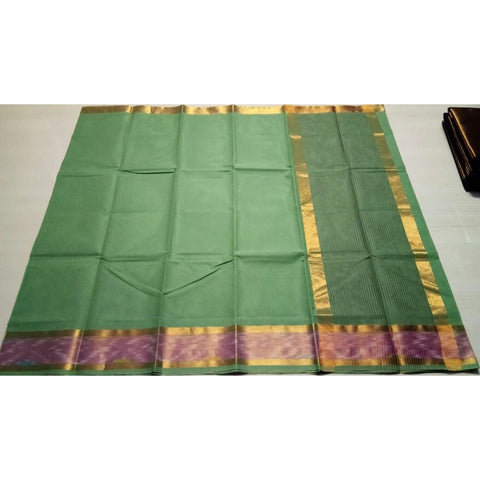 Uppada Cotton Saree with Pochampally Border-Pista Green-Sitarini-USRHUCS103