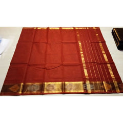 Uppada Cotton Saree with Pochampally Border-Red-Sitarini-USRHUCS105