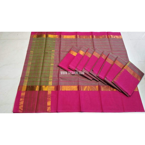Uppada Cotton Sarees-Green and Pink-Sitarini-UMKHUCS137