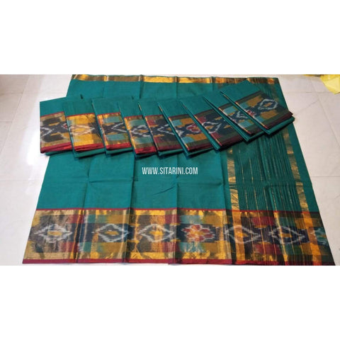 Uppada Cotton Sarees-Light Blue-Sitarini-UMKHUCS155