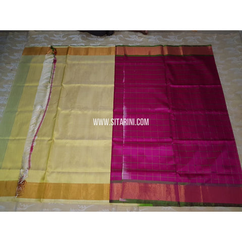 Uppada Half and Half Saree-Pattu-Cream and Magenta-USHUPS116