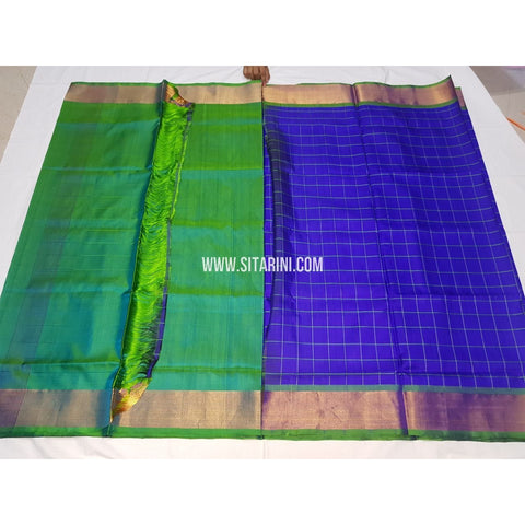 Uppada Half and Half Saree-Silk-Sea Green and Royal Blue-USHUPS121