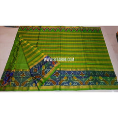Uppada Ikkat Saree-Light Green and Yellow-Sitarini-UMKHUPS113