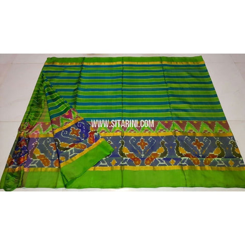 Uppada Ikkat Saree-Parrot Green and Light Blue-Sitarini-UMKHUPS105