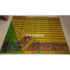 Uppada Ikkat Saree-Parrot Green and Yellow-Sitarini-UMKHUPS110