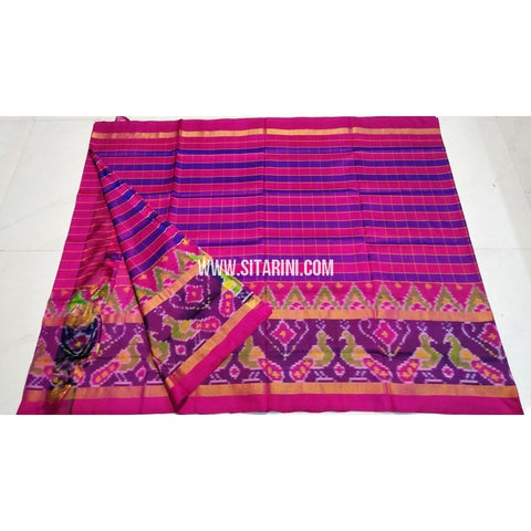 Uppada Ikkat Saree-Pink and Royal Blue-Sitarini-UMKHUPS101