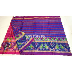 Uppada Ikkat Saree-Pink and Royal Blue-Sitarini-UMKHUPS107