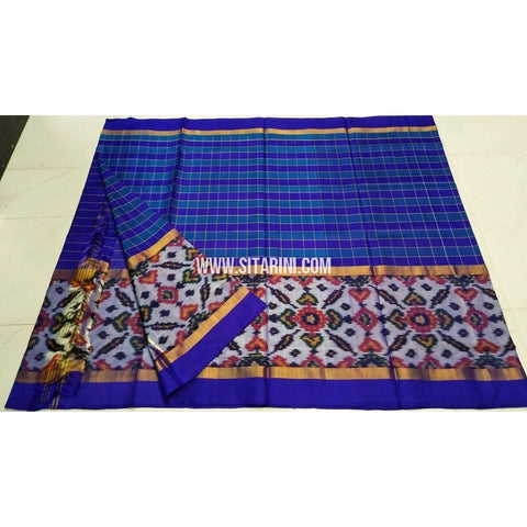 Uppada Ikkat Saree-Royal Blue and Light Blue-Sitarini-UMKHUPS104