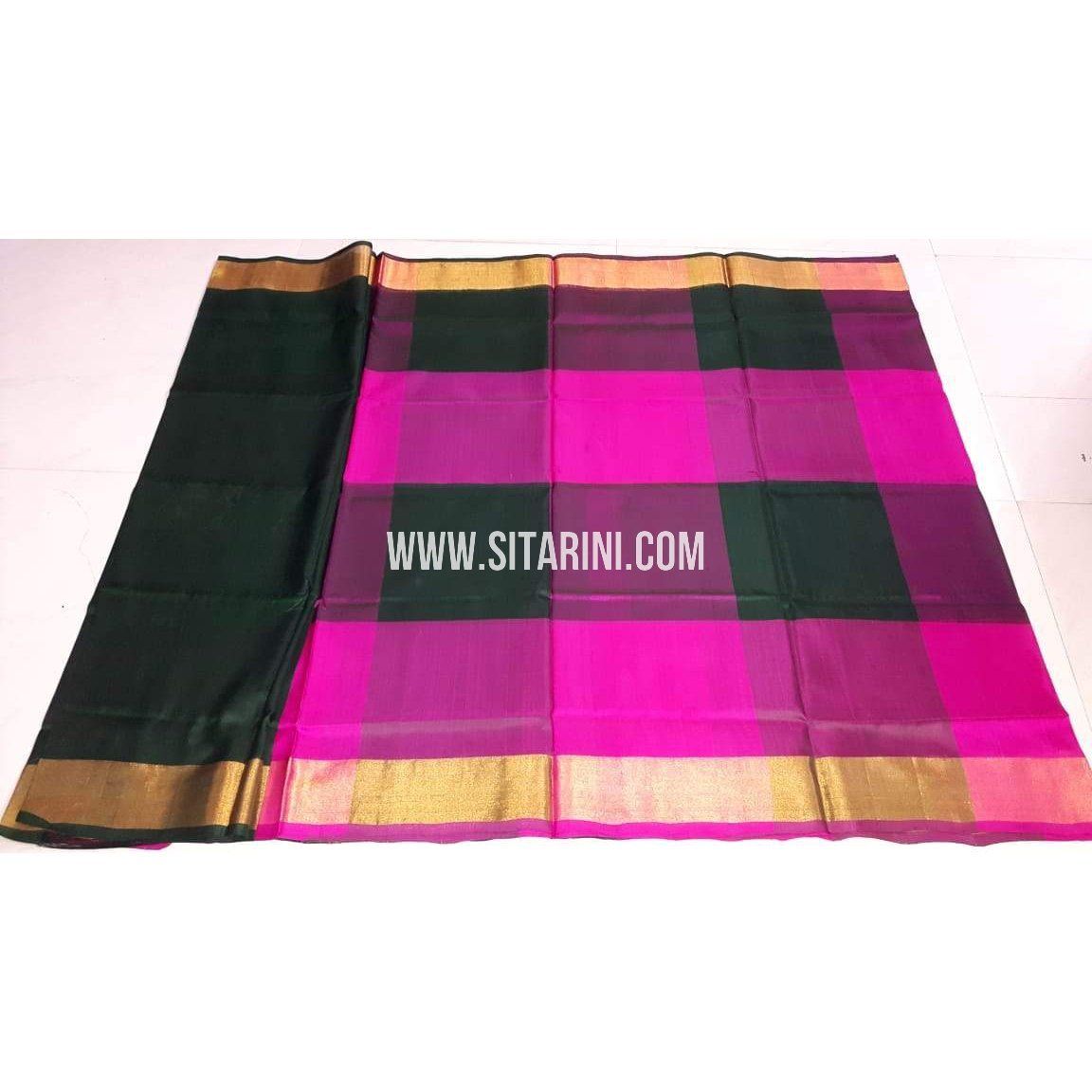 46df3f9bc65441 Uppada Pattu Saree-Bottle Green and Magenta-Sitarini-UMHUPS100