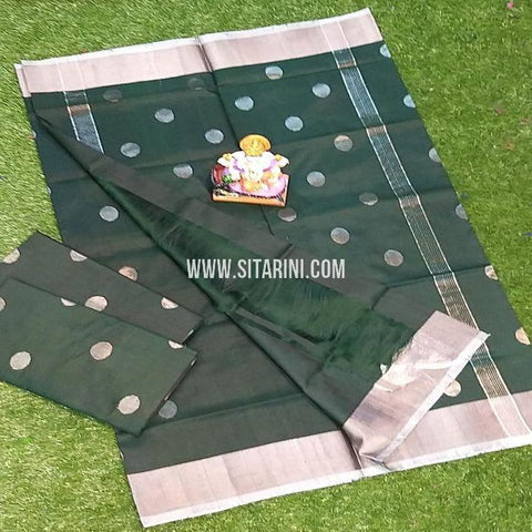 Uppada Pattu Saree-Bottle Green-Sitarini-SITUSS296