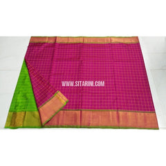 Uppada Pattu Saree-Checks-Parrot Green and Magenta-Sitarini-UMKHUSS102