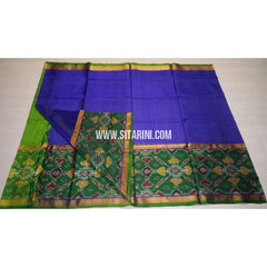 Uppada Pattu Saree with Big Ikkat Border-Parrot Green and Pink-Sitarini-USRHUPS166