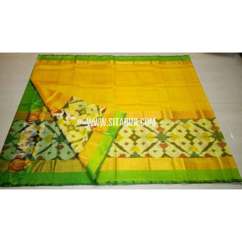 Uppada Pattu Saree with Big Ikkat Border-Parrot Green and Yellow-Sitarini-USRHUPS171