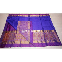 Uppada Pattu Saree with Big Ikkat Border-Purple and Blue-Sitarini-USRHUPS168
