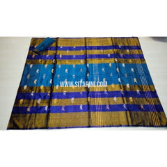 Uppada Pattu Saree with Jamdani Buta-Blue and Dark Yellow-Sitarini-USRHUPS179