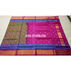 Uppada Pattu Saree with Jamdani Buta-Grey and Pink-Sitarini-USRHUPS178
