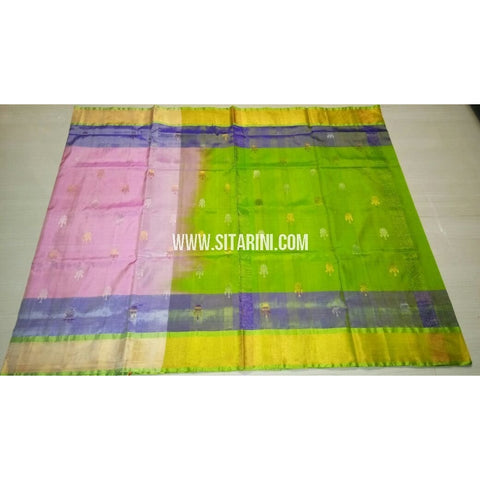 Uppada Pattu Saree with Jamdani Buta-Light Pink and Parrot Green-Sitarini-USRHUPS185