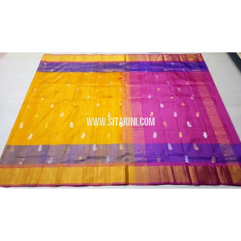 Uppada Pattu Saree with Jamdani Buta-Yellow and Pink-Sitarini-USRHUPS184