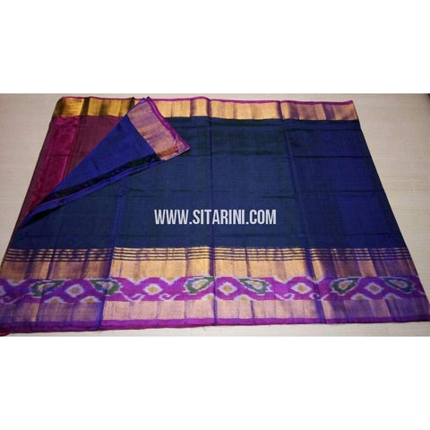 Uppada Pattu Saree with Small Ikkat Border-Dark Pink and Dark Blue-Sitarini-USRHUPS162