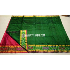 Uppada Pattu Saree with Small Ikkat Border-Dark Pink and Dark Green-Sitarini-USRHUPS158
