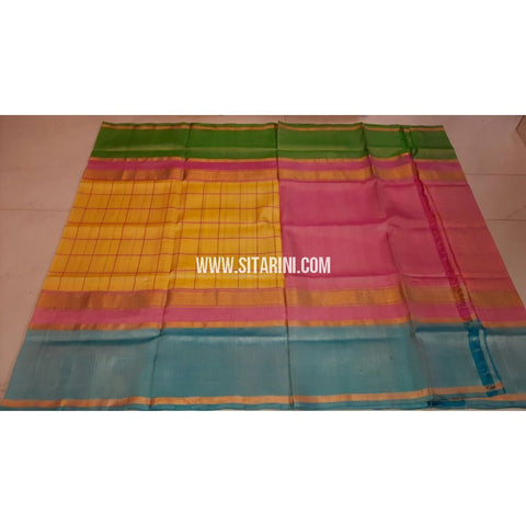 Uppada Silk Saree-Checks-Multicolor-Sitarini-UMKHUSS111