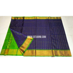 Uppada Silk Saree-Checks-Parrot Green and Navy Blue-Sitarini-UMKHUSS108