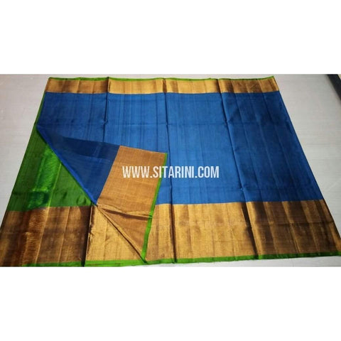 Uppada Silk Saree with Big Border-Green and Blue-Sitarini-USRHUPS126