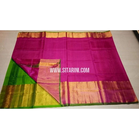 Uppada Silk Saree with Big Border-Green and Pink-Sitarini-USRHUPS125