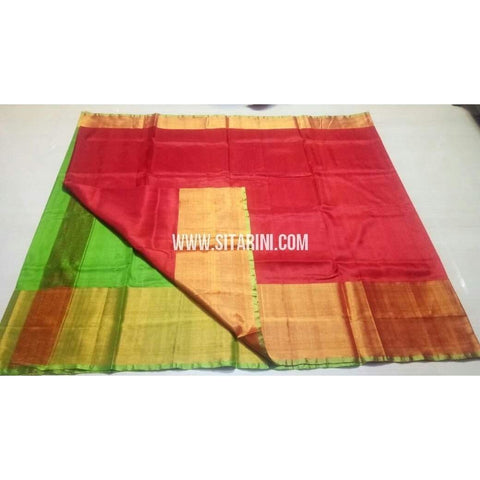 Uppada Silk Saree with Big Border-Green and Red-Sitarini-USRHUPS122
