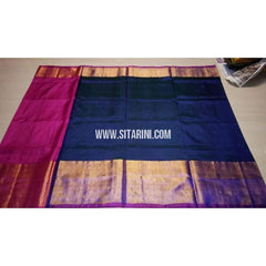 Uppada Silk Saree with Big Border-Pink and Dark Blue-Sitarini-USRHUPS128